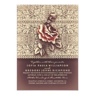 Vintage Lace Marsala Rose Wedding Invitations