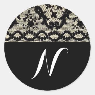 Vintage Lace Monogram Classic Round Sticker