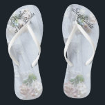 "Vintage Lace Mother of Bride Wedding Flip Flops<br><div class=""desc"">This Vintage Lace design personalized, comfortable Mother of the Bride Flip Flops are a simple, elegant, and chic gift for members of the Bridal Party - Bride, Bridesmaid, Maid of Honor ... They will add to the festivities of your wedding day, Bachelorette Party, or other celebration. Easy to customize name...</div>"