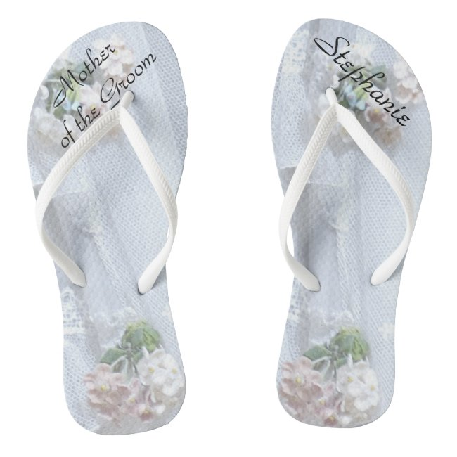 Vintage Lace Mother of Groom Wedding Flip Flops