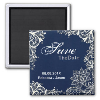 vintage lace  navy blue wedding save the date magnet
