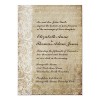 Vintage Lace Old World Wedding Invitation