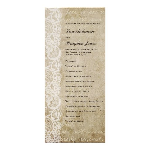 Vintage Lace Old World Wedding Program Custom Rack Card