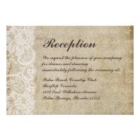 Vintage Lace Old World Wedding Reception Card
