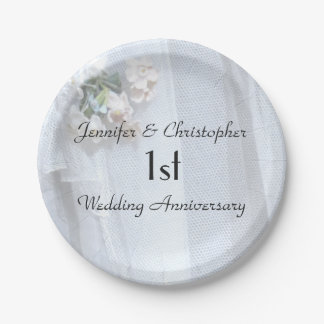 Vintage Lace Paper Plates, 1st Wedding Anniversary Paper Plate