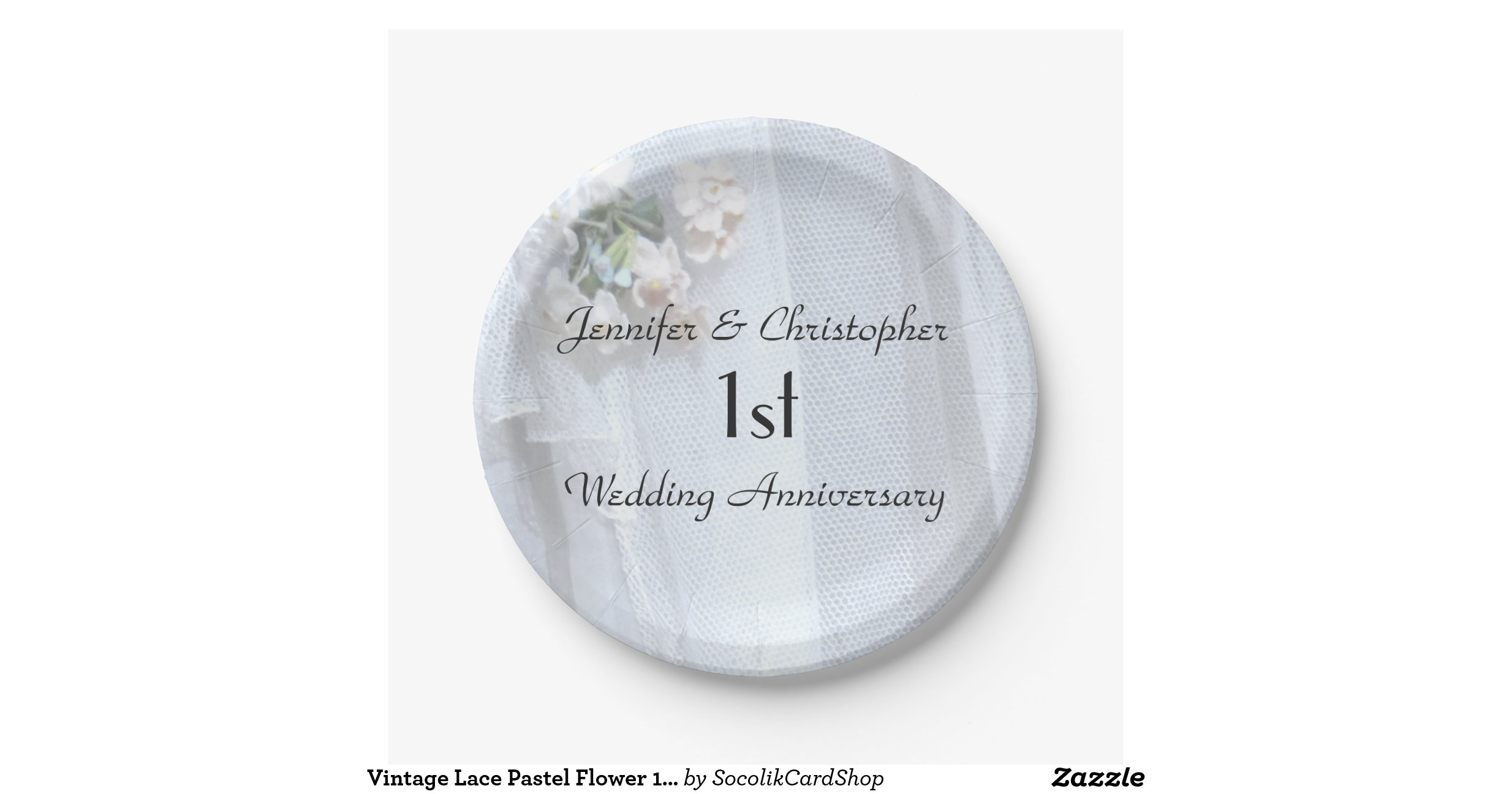 Vintage Lace Paper Plates 1st Wedding Anniversary 7 Inch Paper Plate
