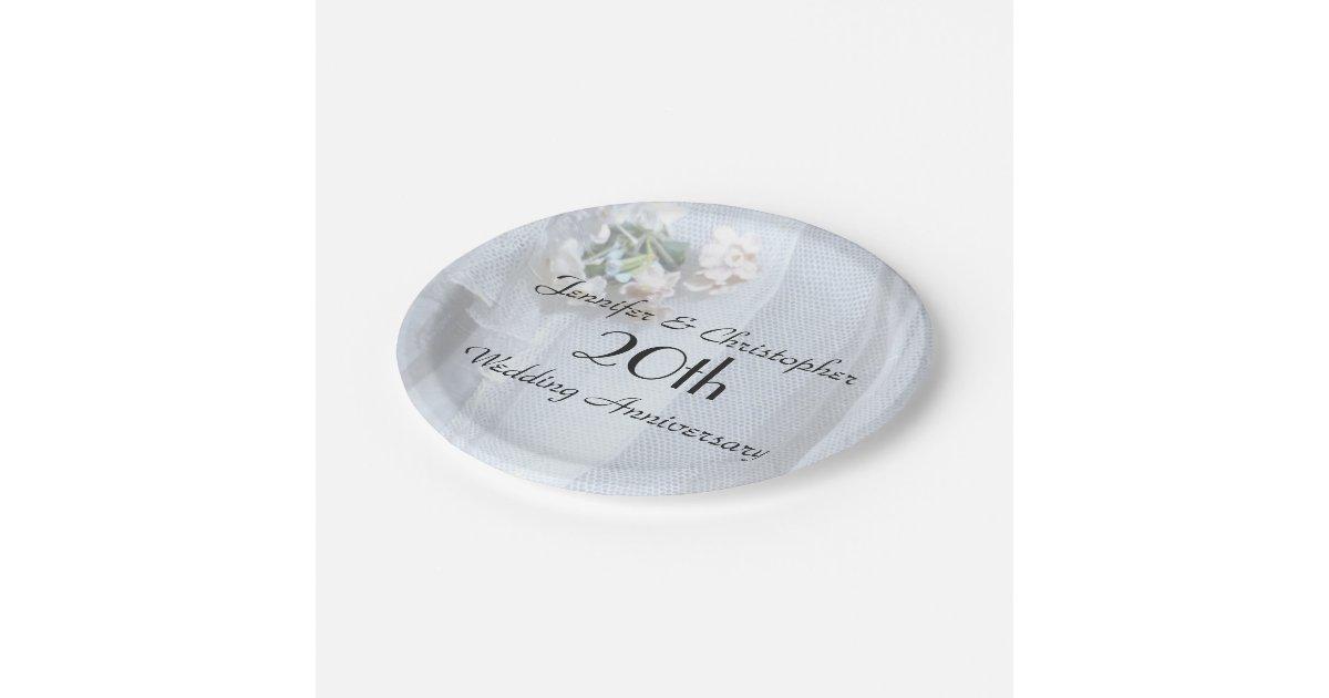 Vintage Lace Paper Plates 20th Wedding Anniversary Zazzle