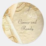 Vintage Lace Pearls Wedding Dress Sticker