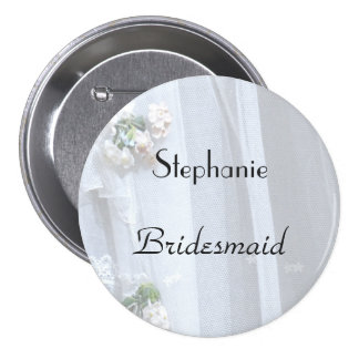 Vintage Lace Personalized Bridesmaid Button Pin