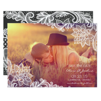 Vintage Lace Photo Save The Date Announcement