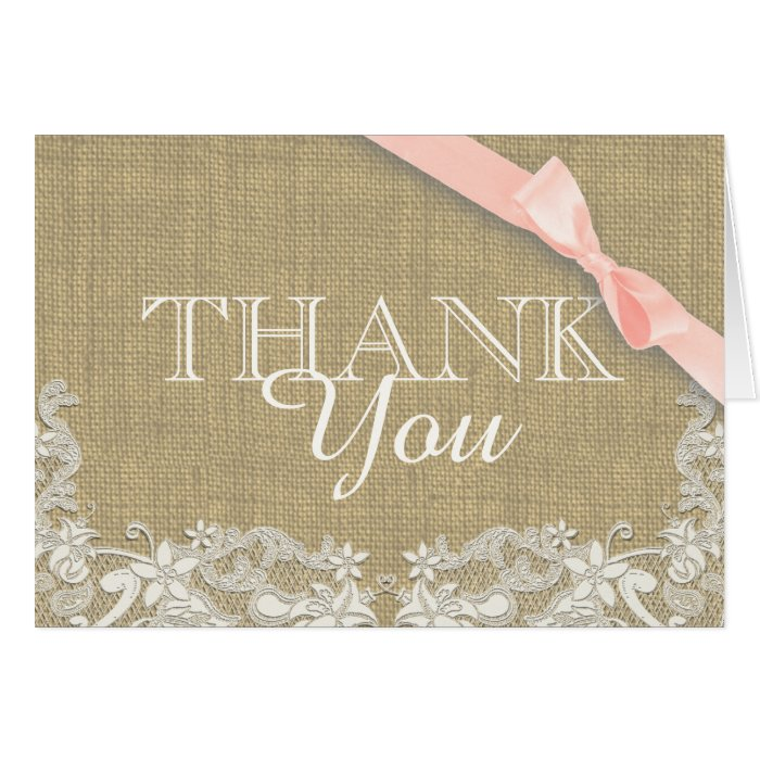 Vintage Baby Shower Thank You Cards: Vintage Lace Pink Baby Shower Thank You Card