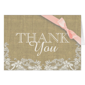 Vintage Lace Pink Baby Shower Thank you Stationery Note Card