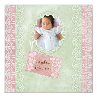 Vintage Lace Pink Green Girl Photo Christening Card