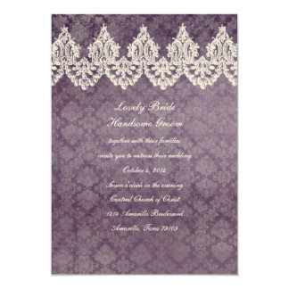 Vintage Lace Purple Wallpaper Wedding Invitation