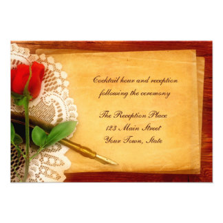 Vintage Lace, Red Rose, Parchment Reception Card Invite