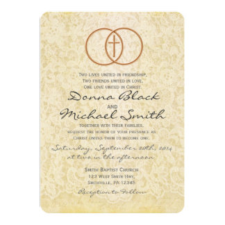 vintage lace religious wedding invitations