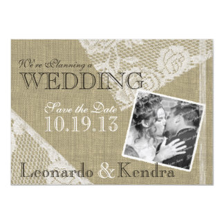"""Vintage Lace Romantic Save the Date 4.5"""" X 6.25"""" Invitation Card"""