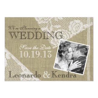 Vintage Lace Romantic Save the Date 4.5x6.25 Paper Invitation Card