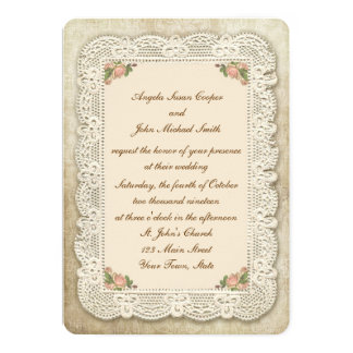 Vintage Lace, Roses and Damask Wedding Announcements