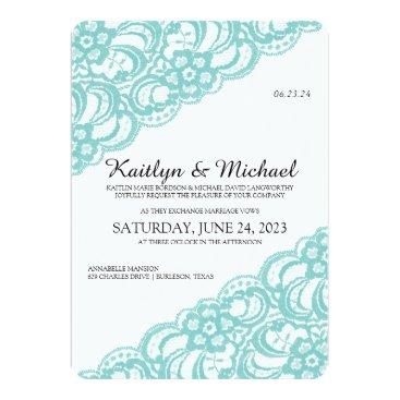 McTiffany Tiffany Aqua Vintage Lace (Rounded) Wedding Invite-Turquoise Card