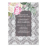 Hand shaped Vintage Lace Rustic Wood | Floral Birthday Party Card