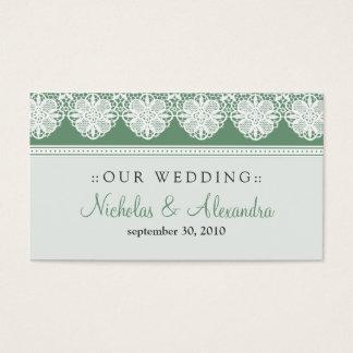 Vintage Lace Sage Green Wedding Website Card