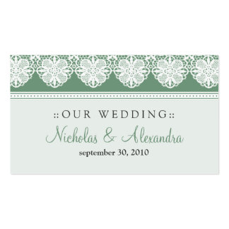 Vintage Lace Sage Green Wedding Website Card Double-Sided Standard Business Cards (Pack Of 100)