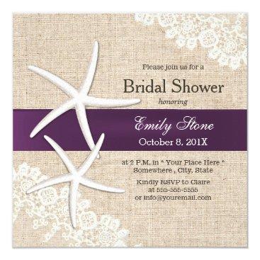 Beach Themed Vintage Lace Starfish Purple Ribbon Bridal Shower Card