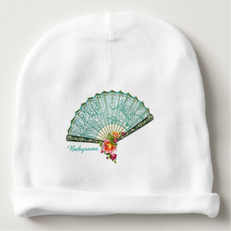 Vintage Lace Teal Fan & Pink Roses Personalized Baby Beanie