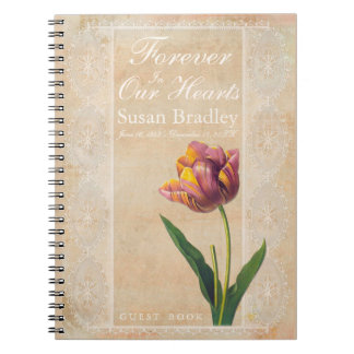 Vintage Lace Tulips Forever Funeral Guest Book