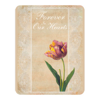 Vintage Lace Tulips Forever in our Hearts Funeral Card
