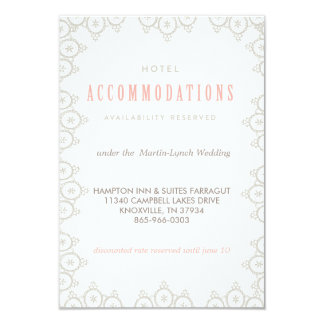 VINTAGE LACE WEDDING HOTEL CARD accommodations car