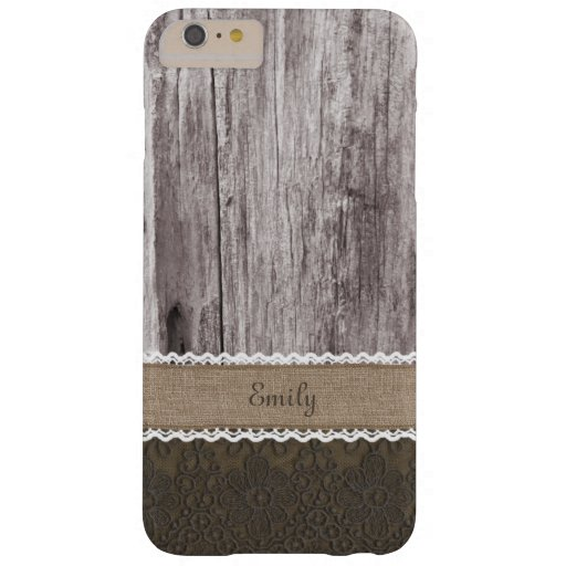 Vintage Lace & Wood Custom Name iPhone 6 Plus Case
