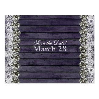 Vintage Lace Wood Rhinestone Save the Date Postcard