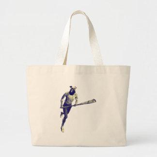Vintage Lacrosse Airedale Large Tote Bag
