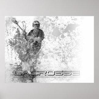 Vintage lacrosse Splatter B/W Horizontial Poster