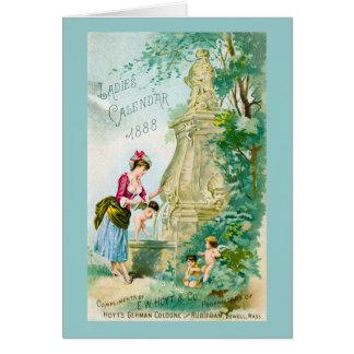 Vintage Ladies Calendar 1888 Cover Greeting Cards