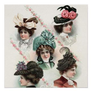 Vintage Ladies Fashion Victorian Hats Poster