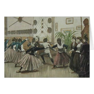 Vintage Ladies Fencing Class Note Card