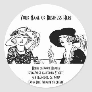 Vintage Ladies in 1920s Fashion Dresses and Hats Round Stickers