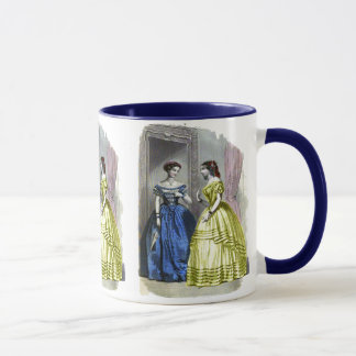 Vintage Ladies in Blue and Yellow Mug