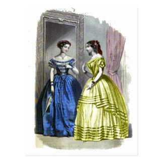 Vintage Ladies in Blue and Yellow Post Cards