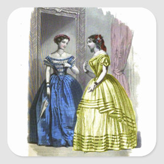 Vintage Ladies in Blue and Yellow Square Sticker