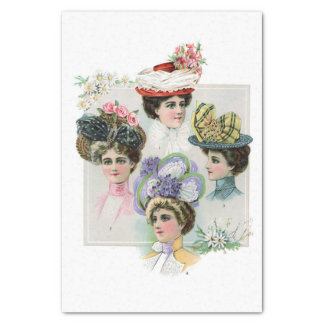 "Vintage Ladies in Spring Hats Fashion Illustration 10"" X 15"" Tissue Paper"