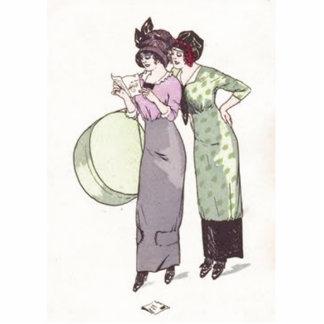 Vintage Ladies Purple Green Cutout
