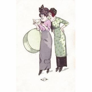 Vintage Ladies Purple Green Photo Sculpture