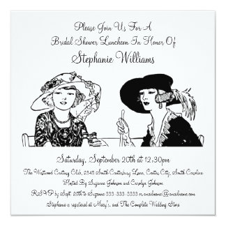 Vintage Ladies with Hats Elegant Bridal Shower 5.25x5.25 Square Paper Invitation Card