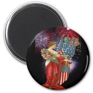 Vintage Lady and Fireworks Magnets