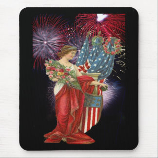 Vintage Lady and Fireworks Mouse Pad