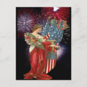 Vintage Lady and Fireworks Post Cards